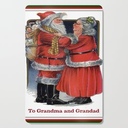 To Grandma and Granded Mr and Mrs Claus Christmas Card Cutting Board