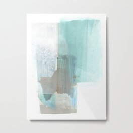 Glacial - Turqoise Blue and Brown Abstract Watercolor Painting Metal Print
