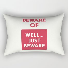 Beware of well just beware, safety hazard, gift ideas, dog, man cave, warning signal, vintage sign Rectangular Pillow