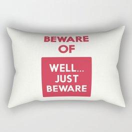 Beware of well just beware, safety hazard, gift ideas, dog, man cave, warning signal, vintage sign Rectangular Pillow