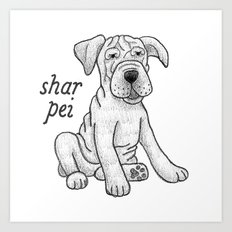 Dog Breeds: Shar Pei Art Print