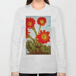 Tropical Desert Red Epiphyllum Orchid Cactus still life painting  Long Sleeve T-shirt