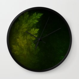 Beautiful Fractal Pines in the Misty Spring Night Wall Clock