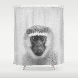Monkey - Black & White Shower Curtain