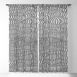 Black and White surreal lines. Inspired by art of Escher Sheer Curtain