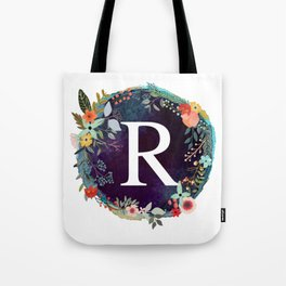 Personalized Monogram Initial Letter R Floral Wreath Artwork Tote Bag