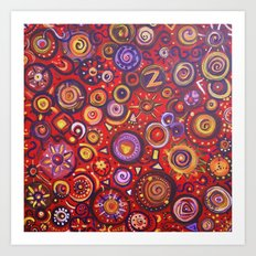 Red Square Abstract Painting Art Print