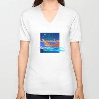 maori V-neck T-shirts featuring Maori Canoes : Waka by Patricia Howitt