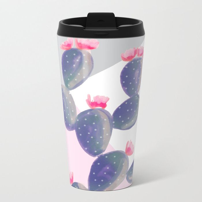 Watercolored Cactus on Geometry Metal Travel Mug