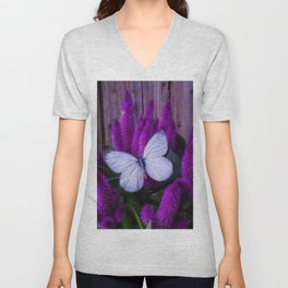WHİTE butterfly Unisex V-Neck