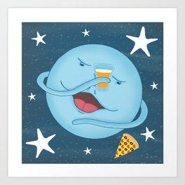 Cute, Funny Blue Moon Pizza & Beer Cheers Cartoon Art Print