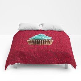 Cupcake Love | Aqua Swirl on Red Sparkle Comforters