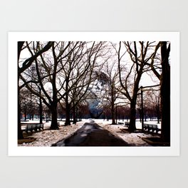 Winter Snow Surrounds the Unisphere, New York City Art Print