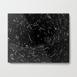 Constellation Map - Black Metal Print