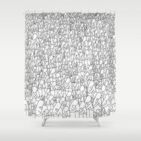 hug Shower Curtains featuring Hug by LUZ DESIGN