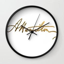 Alexander Hamilton Gold Signature Wall Clock