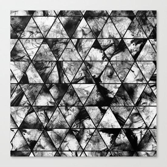 Triangular Whispers - Black and white, geometric abstract Canvas Print