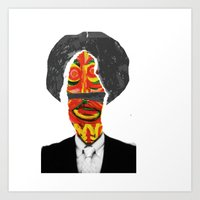 afro Art Prints featuring Afro by FUNCIT