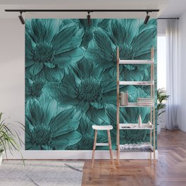 Turquoise Floral Abstract Wall Mural