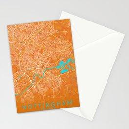 Nottingham, England, Gold, Blue, City, Map Stationery Cards