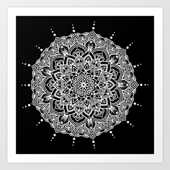 White Mandala With Droplets On Black Art Print