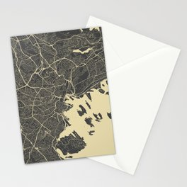 Oslo Map yellow Stationery Cards