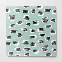 Spotted series abstract animal skin mint black and white raw paint spots Metal Print