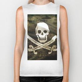 Pirate Skull in Cross Swords Biker Tank