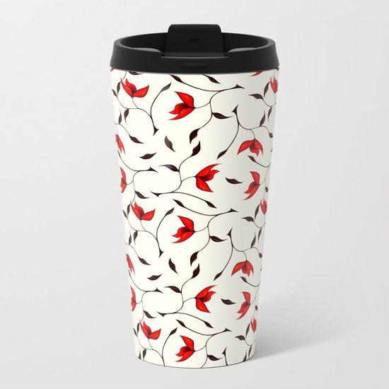 Strange Red Flowers Pattern Metal Travel Mug