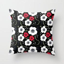 Anemone Print on Black Throw Pillow