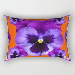 YELLOW-SAFFRON PURPLE PANSIES GARDEN  PATTERN MODERN ART Rectangular Pillow