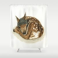 fawn Shower Curtains featuring Fawn by Sam Luotonen