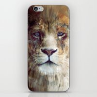 portrait iPhone & iPod Skins featuring Lion // Majesty by Amy Hamilton