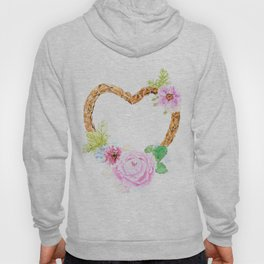 flower heart pink rose and daisy watercolor Hoody