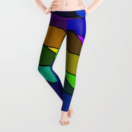 Slanting rainbow lines and rhombuses on violet with intersection of glare. Leggings