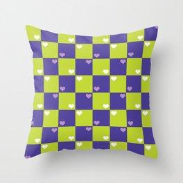 Purple Green Checkers Throw Pillow