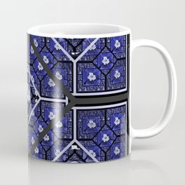 Cherokee Rose Pattern 2 royal blue and black Coffee Mug