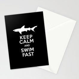 Keep Calm and Swim Fast Shark Stationery Cards