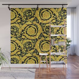 Black Gold Leaf Swirl Wall Mural