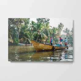 Men on the Kerala Backwaters Metal Print