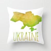ukraine Throw Pillows featuring Ukraine by Stephanie Wittenburg