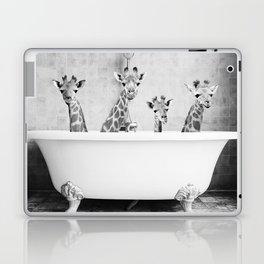 Four Giraffes in a Bath (bw) Laptop & iPad Skin