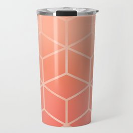 Living Coral Gradient - Geometric Cube Design Travel Mug