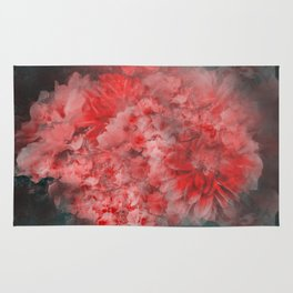 Abstract Red Flowers Rug