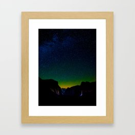Starry Night Sky Stars Landscape Silhouette Colorful Green Turquoise Sky Ombre Framed Art Print