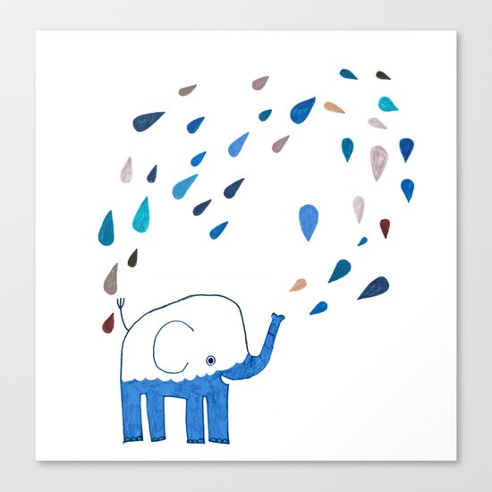 how an elephant showers Canvas Print