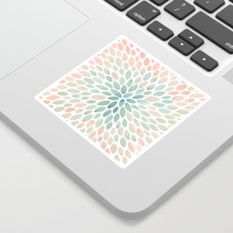 Floral Bloom, Abstract Watercolor, Coral, Peach, Green, Floral Prints Sticker
