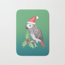Christmas African grey parrot Bath Mat