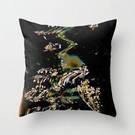 Digital Baby's Breath | Black Botanical, Surreal, Mixed Media, Floral Photo Throw Pillow