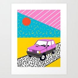 Amped - throwback 80s memphis vintage cars sunset socal california beach life Art Print